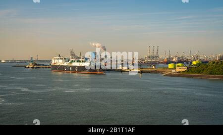 Rotterdam, South Holland, Netherlands - May 23, 2019: Ships and industry at the Europoort - Stock Photo