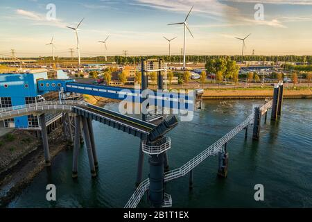 Rotterdam, South Holland, Netherlands - May 13, 2019: The ferry terminal in the Beneluxhaven of Europoort - Stock Photo