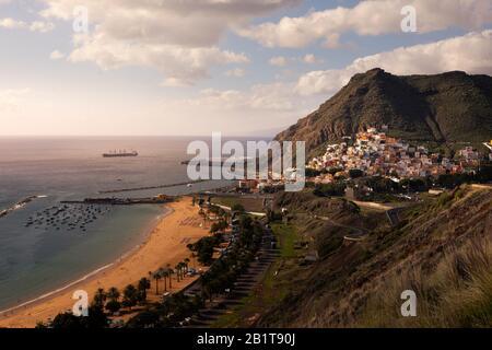 View from San Andres and Las Teresitas beach in Santa Cruz de Tenerife, Canary Islands, Spain.