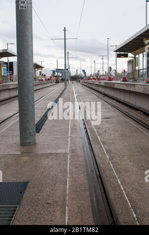 Around the UK - New Station & Platform at Manchester Metrolink Expansion to Barton Sq. Urmston - Stock Photo