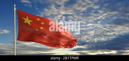 China sign, symbol. Chinese national flag waving on a pole, blue sky with clouds background. 3d illustration - Stock Photo