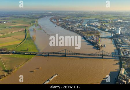 Aerial photo, River Rhine, Uerdinger Rhine Bridge, KCT Krefelder Container Terminal, Duisburg, Ruhr Area, North Rhine-Westphalia, Germany, Bridge, DE, Stock Photo