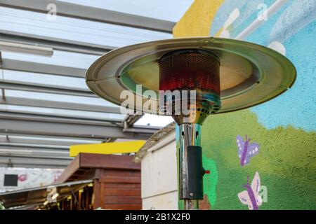 Gas Terrace Heater Or Patio Heater Under High Roof Stock Photo Alamy
