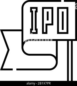Ipo flag line icon, concept sign, outline vector illustration, linear symbol. - Stock Photo