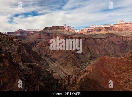 View of Colorado River, Cheops Pyramid, Sumner Butte, North Rim, and Inner Gorge of the Grand Canyon from the Tipoff Point on the South Kaibab Trail - Stock Photo
