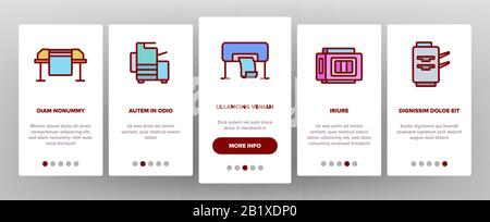 Printer Onboarding Icons Set Vector - Stock Photo