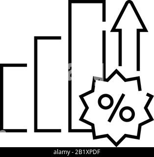 Interest rate increase line icon, concept sign, outline vector illustration, linear symbol. - Stock Photo
