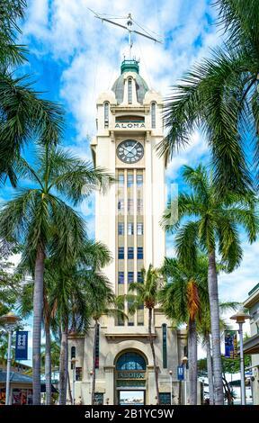 Honolulu, Hawaii, View of the Alhoa tower of the Honolulu Harbor Stock Photo