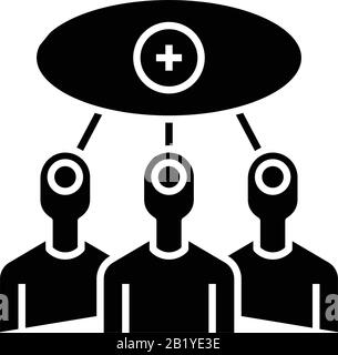 Connection of people black icon, concept illustration, vector flat symbol, glyph sign. - Stock Photo