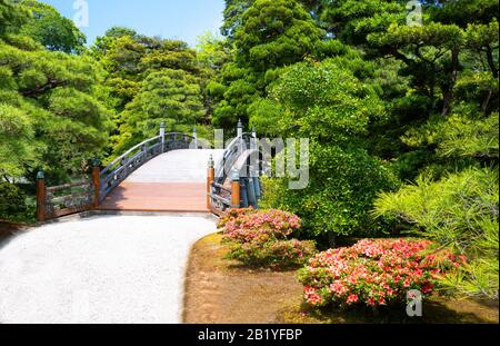 Japan, Kyoto, the colorful and rich vegetation of the Imperial Palace park - Stock Photo