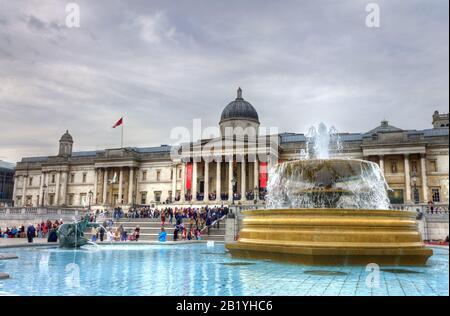 United Kingdom, England, London, National Gallery in Trafalgar Square - Stock Photo