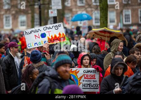 Bristol, UK. 28th Feb 2020. Greta Thunberg, the Swedish climate strike activist travels to Bristol, UK to address the Bristol Youth Strike 4 Climate. Crowds of 30,000 gathered on College Green before marching around the city. Credit: Rob Hawkins/Alamy Live News - Stock Photo