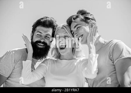 group of people outdoor. heaven concept. success heights. happy woman and two men. cheerful friends. friendship relations. family bonding and love. summer vacation. time to relax. Real love. - Stock Photo