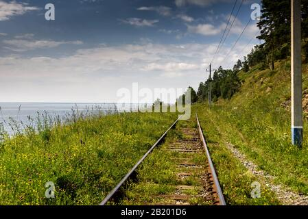 Circum-Baikal railroad on the coast of Lake Baikal.