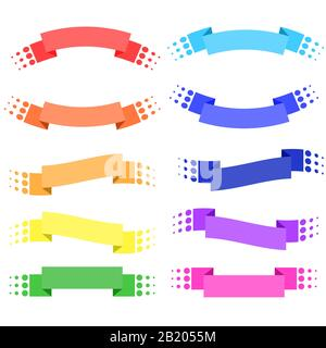 Set of 10 flat colored isolated ribbon banners. Suitable for design. - Stock Photo