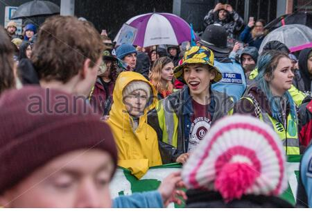 Bristol, UK. 28th Feb, 2020. Climate crisis activist, Greta Thunberg, leads crowds around Bristol city centre as part of the Bristol Youth Strike 4 Climate (BYS4C). Credit: Andy Parker/Alamy Live News - Stock Photo