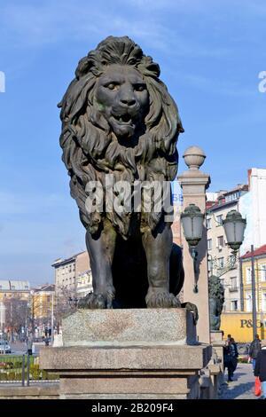 Sofia / Bulgaria - November 2017: One from four lions in lion's bridge. - Stock Photo