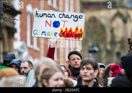 Bristol, UK. 28th Feb 2020. Thousands turn out to see Greta Thunberg at a climate protest in Bristol. Greta spoke to the protesters on College Green and then joined a march through the city centre in heavy rain. 28th February 2020. Bristol, UK. Credit: Redorbital Photography/Alamy Live News - Stock Photo