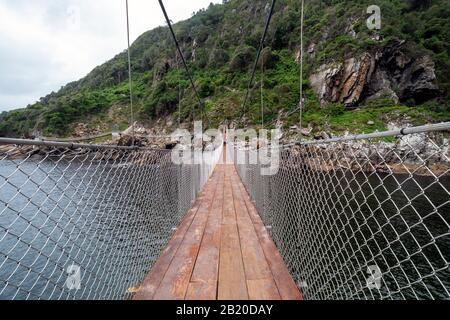 Suspension bridges at Storms River Mouth,Tsitsikamma National Park, Garden Route, near Port Elizabeth,South Africa