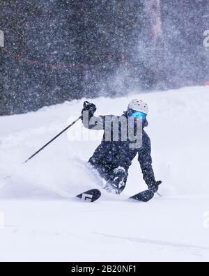 Skier in fresh powder at Monarch Mountain ski & snowboard resort on the Continental Divide in Colorado, USA - Stock Photo