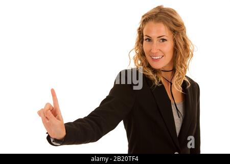 Young busienss woman pressing virtual button isolated over white - Stock Photo