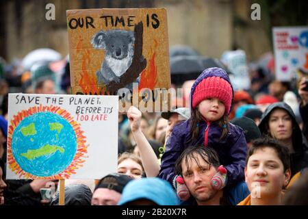 Bristol, UK. 28th Feb, 2020. Greta Thunberg attends the School Strike in Bristol with over 30,000 other people. The school strike for the climate, AKA Fridays for Future, Youth for Climate and Youth Strike 4 Climate, is an international movement of school students who take time off from class to participate in demonstrations to demand action to deal with the Climate & Ecological Emergency Credit: Gareth Morris/Alamy Live News - Stock Photo