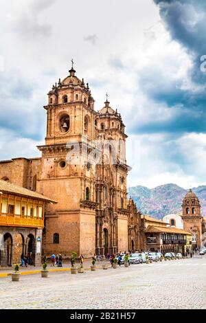Exterior of Cusco Cathedral on Plaza de Armas, Cusco, Sacred Valley, Peru - Stock Photo