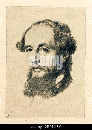Charles John Huffam Dickens FRSA was an English writer and social critic. Digital improved reproduction from Illustrated overview of the life of mankind in the 19th century, 1901 edition, Marx publishing house, St. Petersburg - Stock Photo