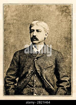 Bret Harte was an American short-story writer and poet,.Digital improved reproduction from Illustrated overview of the life of mankind in the 19th century, 1901 edition, Marx publishing house, St. Petersburg - Stock Photo