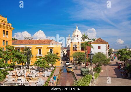 Cartagena, Colombia – 18 February, 2020: Famous colonial Cartagena Walled City (Cuidad Amurrallada) and its colorful buildings in historic city center