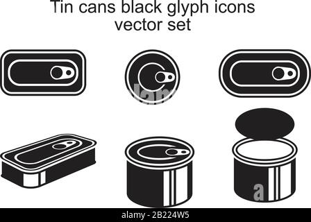 Tin cans black glyph Icon template black color editable. Tin cans black glyph Icon symbol Flat vector illustration for graphic and web design. - Stock Photo