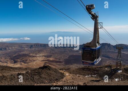 Teide National Park, Tenerife, Canary Islands, Spain- January 14, 2020: Cableway on the volcano Teide (Teleferico del Teide). Touristic way to Pico de - Stock Photo