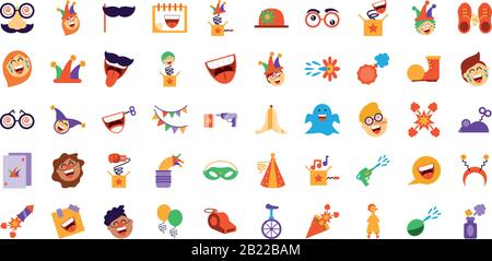 april fools day icon set over white background, colorful and flat style design, vector illustration - Stock Photo