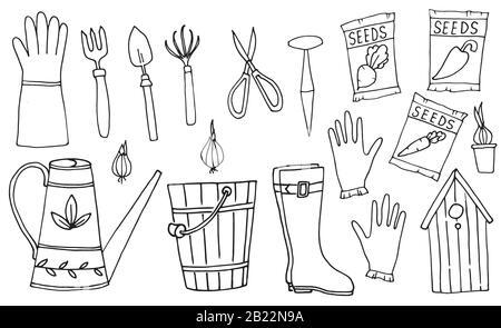 Garden tools, Line Art Design, Icons Big Set. Vector Set of illustrations. Spring Season Items. - Stock Photo