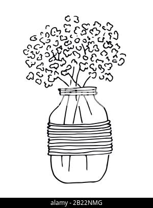 Bouquet flowers in glass jar, black lines art, isolated on white background. Illustration for invitation, greeting cards. - Stock Photo