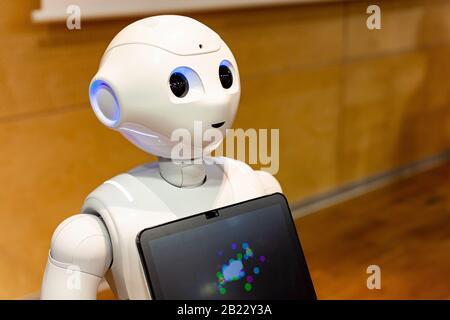 Pepper - the japanese semi humanoid robot assistant closeup, portrait . Artificial intelligence, moder