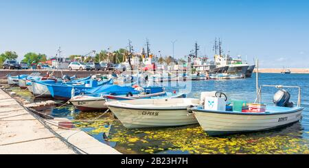 sozopol, bulgaria - SEP 09, 2019: fishing boats in port on a sunny day - Stock Photo