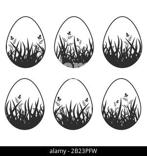 Set of black silhouettes isolated Easter eggs on a white background. With an abstract pattern. Simple flat vector illustration. Suitable for decoratio - Stock Photo