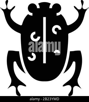 Frog experiment black icon, concept illustration, vector flat symbol, glyph sign. - Stock Photo