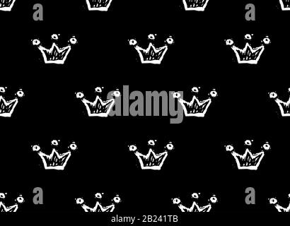 White crowns on black background seamless doodles pattern. Monochrome vector illustration EPS8 - Stock Photo