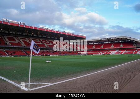 NOTTINGHAM. ENGLAND. FEB 28th: General view inside the stadium during the 2020 FA Women Continental Tyres League Cup Final between Arsenal Women and Chelsea Women at the City Ground in Nottingham, England. (Photo by Daniela Porcelli/SPP) - Stock Photo