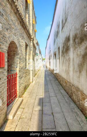 Pavement end narrow streets and courtyards in a traditional Chinese residential area,the Three alleys and Seven lanes, Fuzhou,Fujian,China