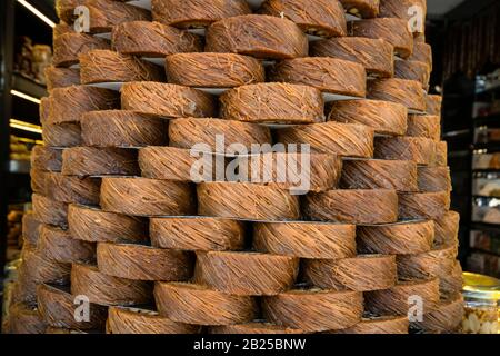 Traditional sweet syrup made from shredded wheat. - Stock Photo