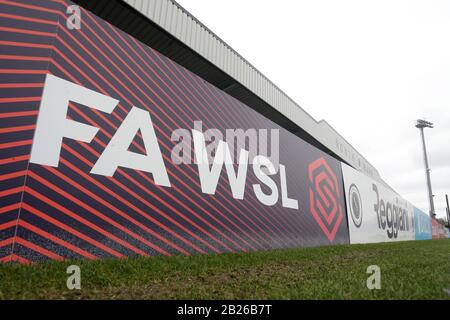 General view of FAWSL signage during Arsenal Women vs Birmingham City Women, Barclays FA Women's Super League Football at Meadow Park on 5th January 2 - Stock Photo