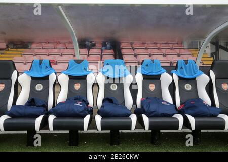 General view of the home dugout during Arsenal Women vs Bristol City Women, Barclays FA Women's Super League Football at Meadow Park on 1st December 2 - Stock Photo