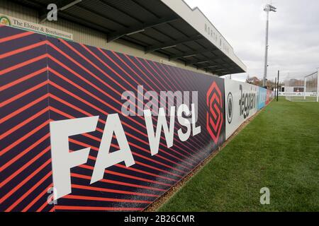 General view of the FAWSL signage during Arsenal Women vs Bristol City Women, Barclays FA Women's Super League Football at Meadow Park on 1st December - Stock Photo