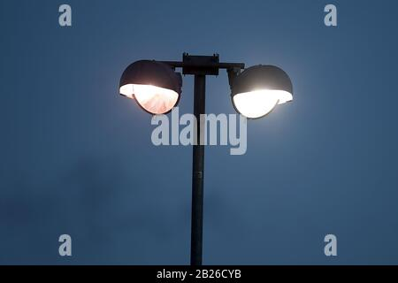 Floodlight in use during Hornchurch vs Dulwich Hamlet, Buildbase FA Trophy Football at Hornchurch Stadium on 14th December 2019 - Stock Photo