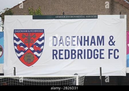 Dagenham & Redbridge FC signage during Dagenham & Redbridge vs Maidenhead United, Vanarama National League Football at the Chigwell Construction Stadi - Stock Photo