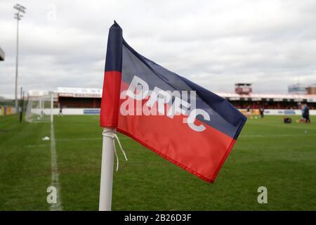 General view of the corner flag during Dagenham & Redbridge vs Maidenhead United, Vanarama National League Football at the Chigwell Construction Stadi - Stock Photo
