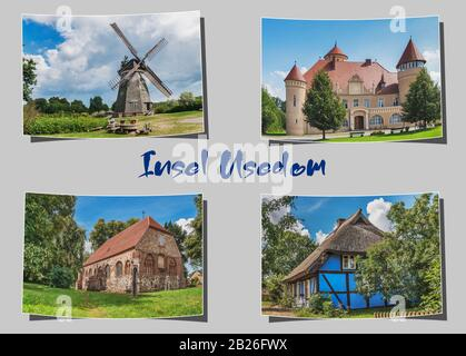 Four different curved photographs on grey background with the inscription Insel Usedom (island Usedom), Mecklenburg-Vorpommern, Germany, Europe - Stock Photo